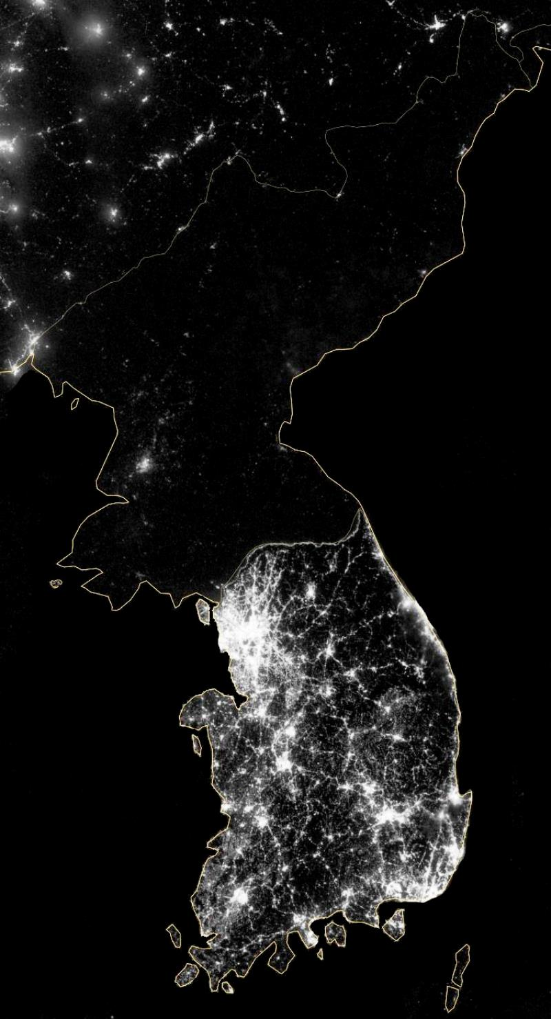 North Korea South Korea At Night