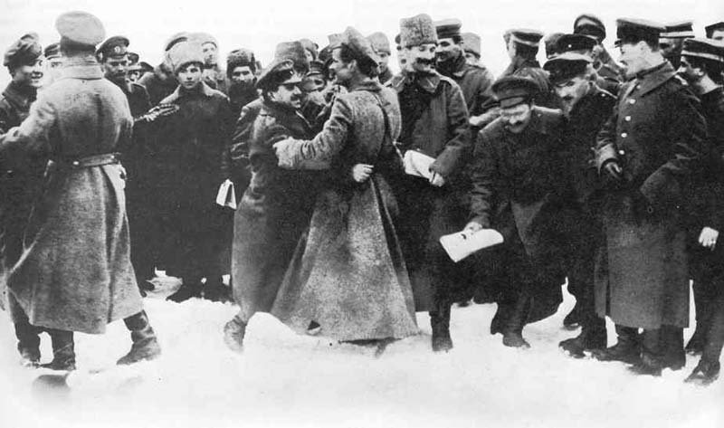 Russian Revolution Troops Celebrating