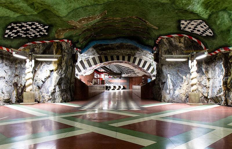 Stockholm Metro Checkered Walk Through