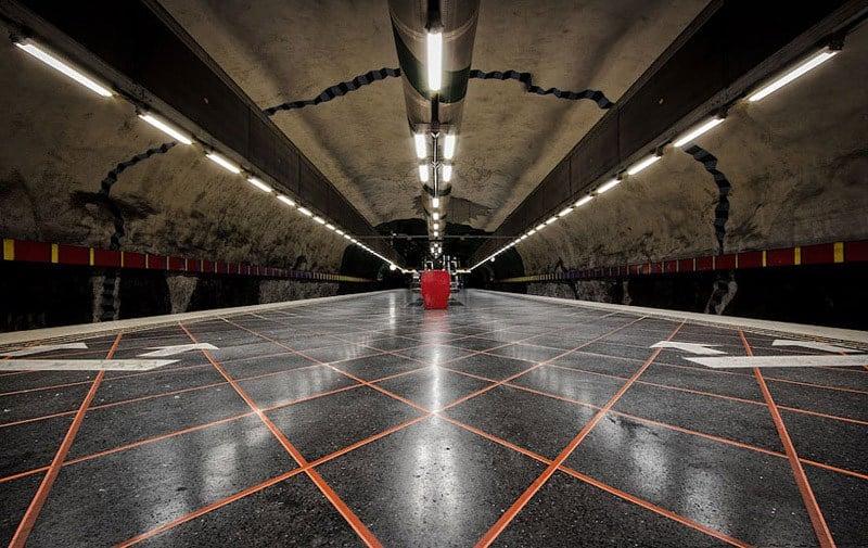 Stockholm Metro Orange Black Tunnel