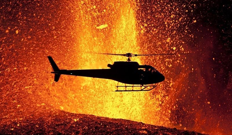 Volcano Eruptions Helicopter
