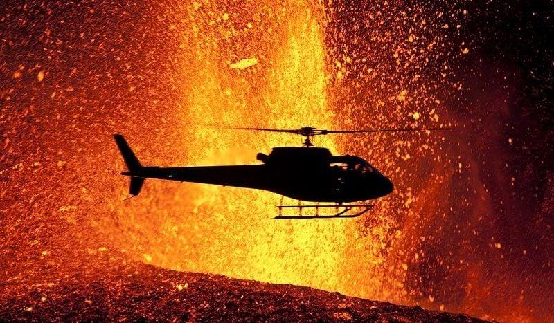 Volcano Eruptions Helicopter