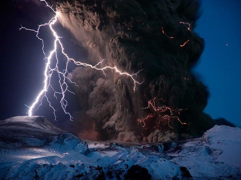 Volcano Lightning Iceland