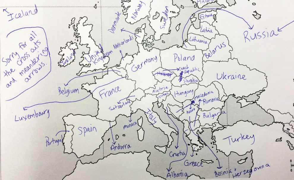 Europe Map Arrows