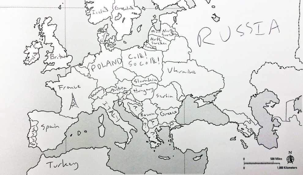 Europe Map Cold