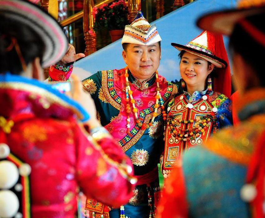 Interesting Wedding Traditions Yugur Couple