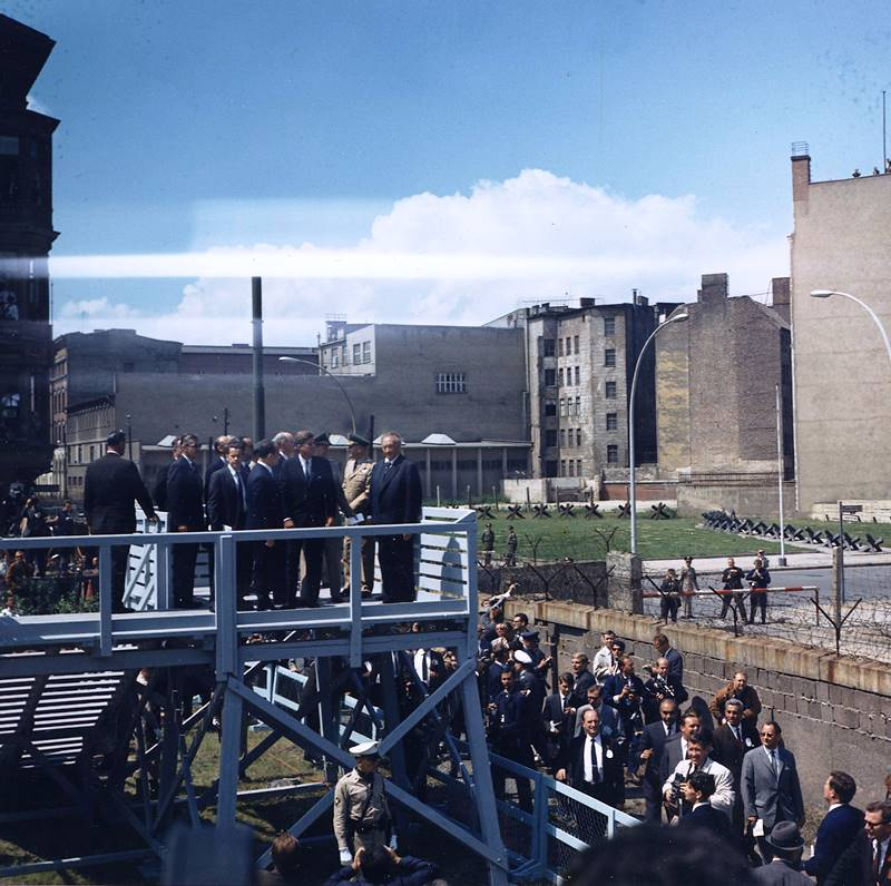 John Kennedy Tours The Berlin Wall