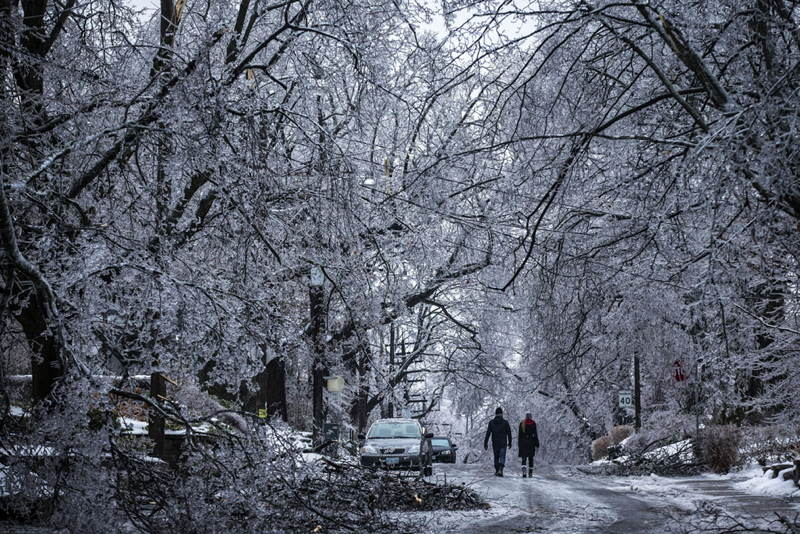 Christmas Ice Storm Covered Road