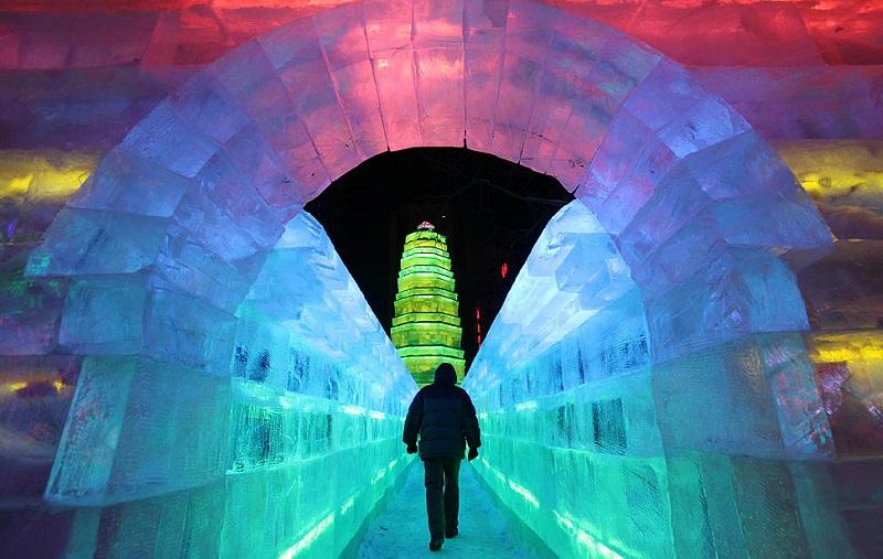 Neon Ice Sculptures