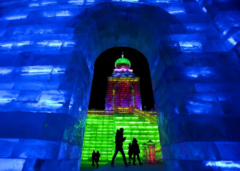 Colorful Archway at Harbin Ice Sculptures Festival