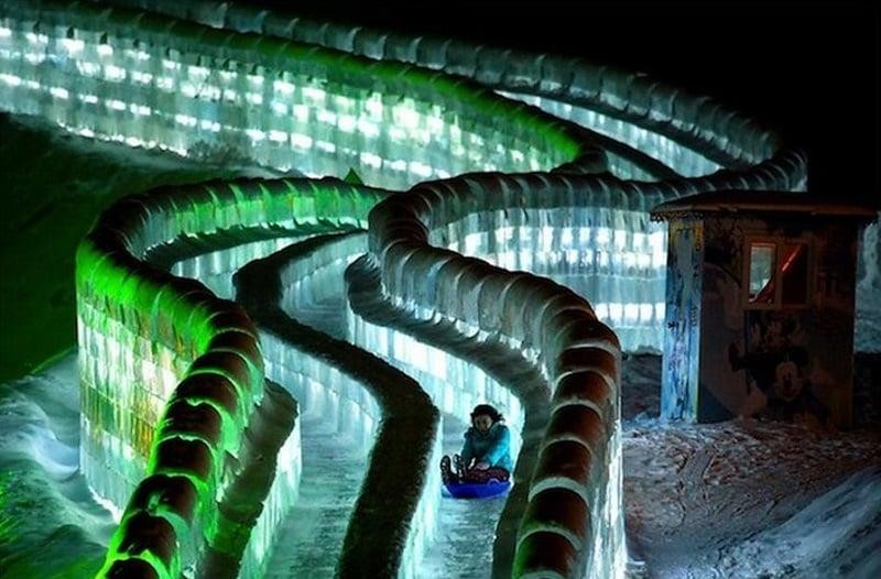 Colorful Slide Ice Sculptures at Harbin International Festival