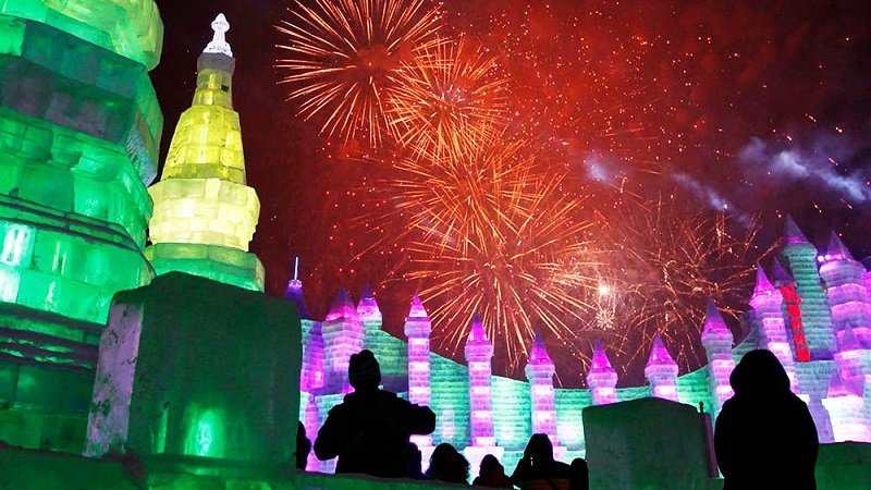 Fireworks at the Harbin Ice and Snow Festival