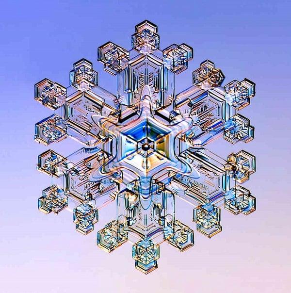 Sparkling Snowflake Under Microscope