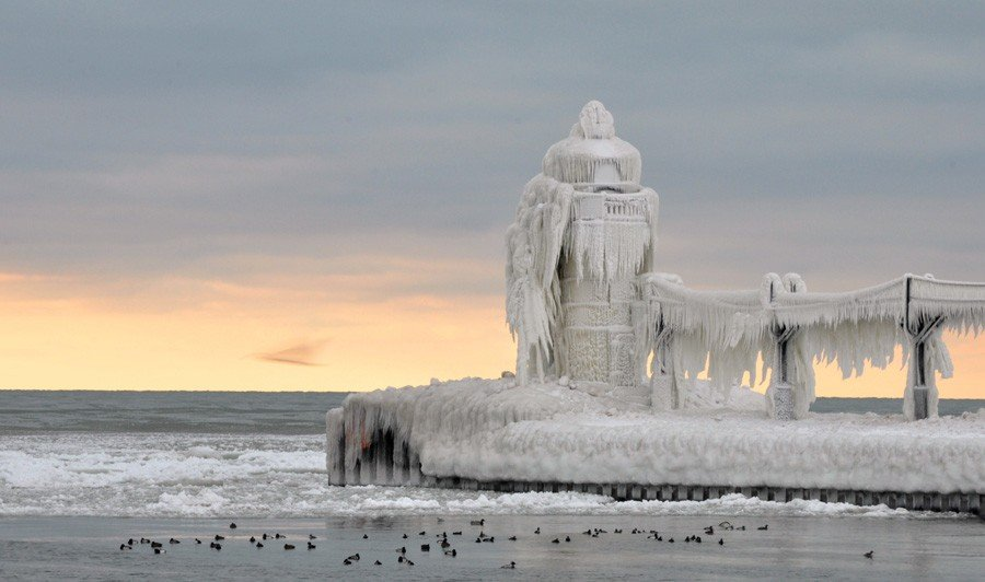 Frozen Lighthouses Majestic Beauty