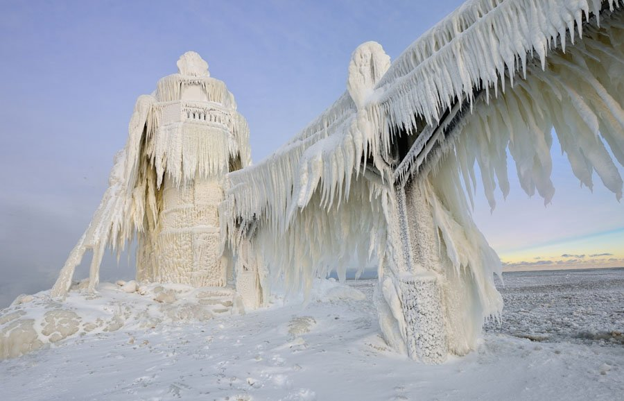 Frozen Lighthouses Natural Wonder