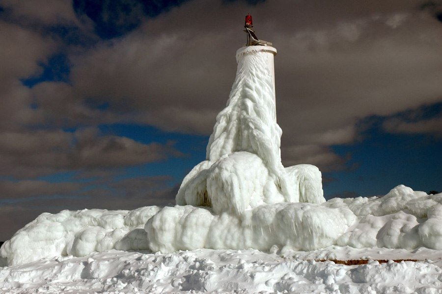 Frozen Lighthouses Petoskey Lighthouse