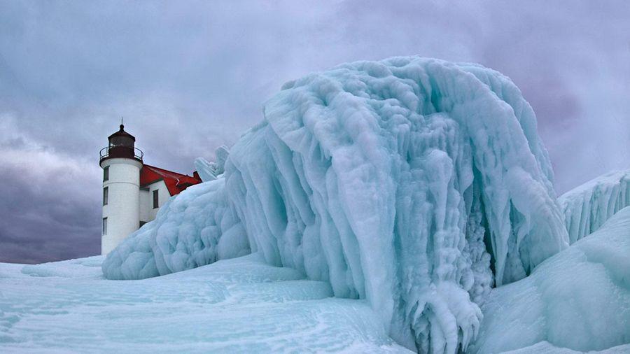 Frozen Lighthouses Point Betsie
