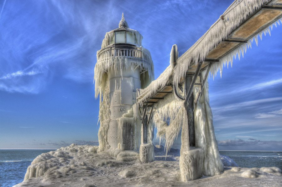 Frozen Lighthouses In The Great Lakes