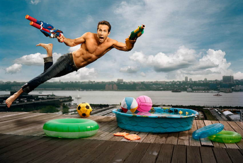 Celebrity Portraits Ryan Reynolds Jumping