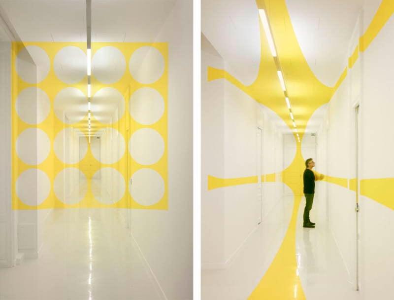 Felice Varini Yellow Hallway