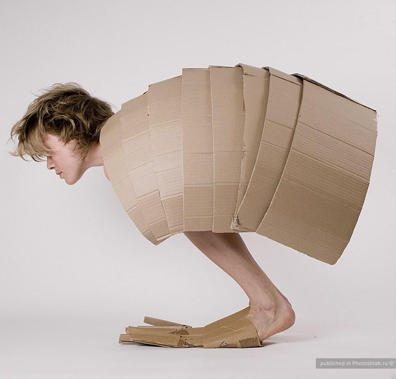 Distorted Cardboard Box View