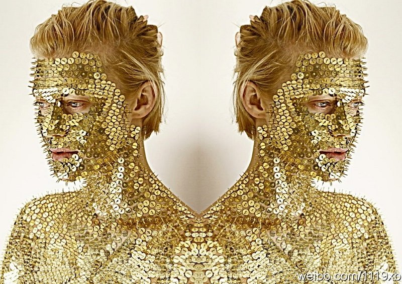 Gold Sequins Covering Human Body