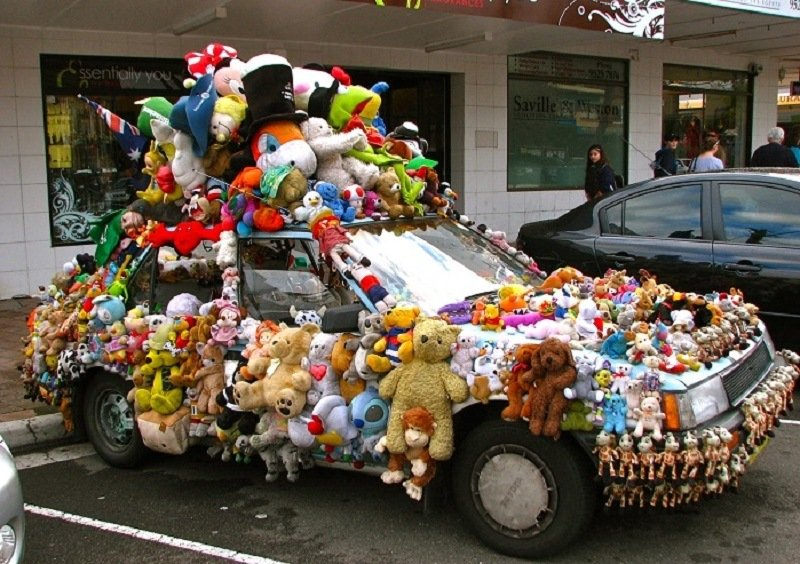 Weird Car Covered in Stuffed Animals