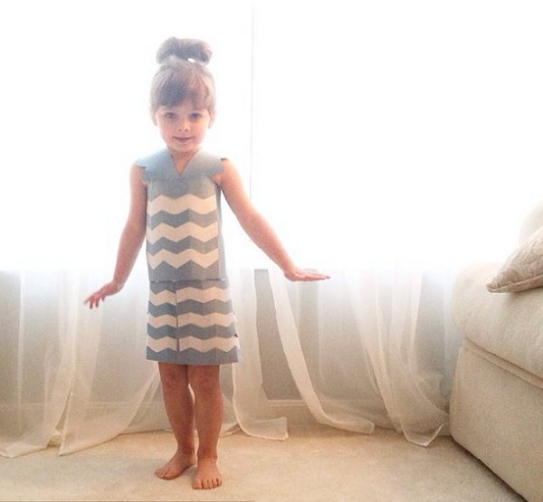 8653856fa5810 Mayhem Models a Chevron Print Paper Dress. Source  Instagram. 4-Year-Old ...
