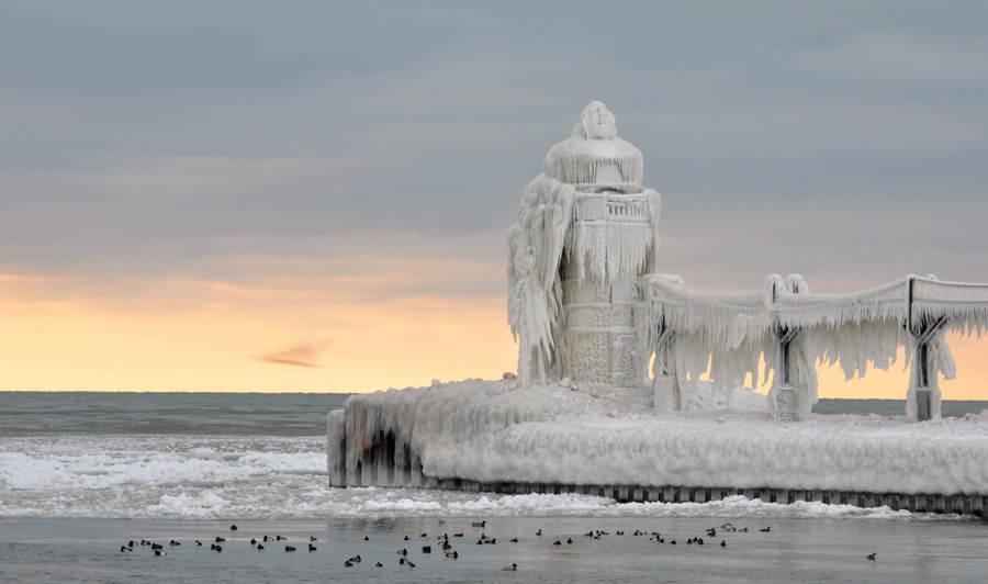 Frozen Lighthouses White Sunset
