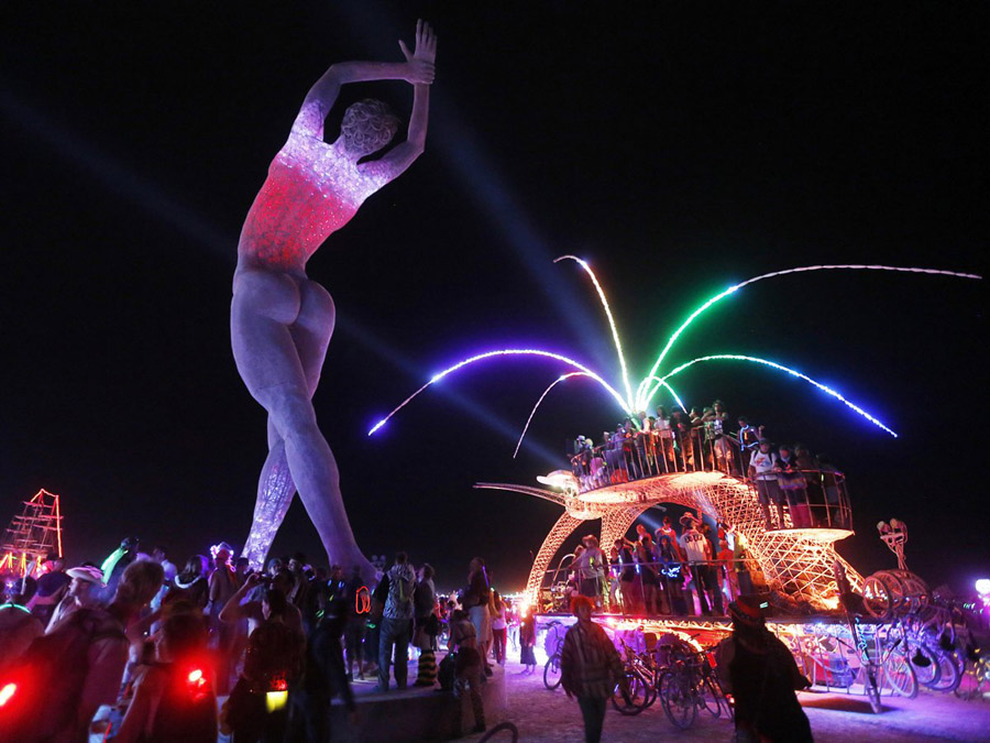 Burning Man Night Statue