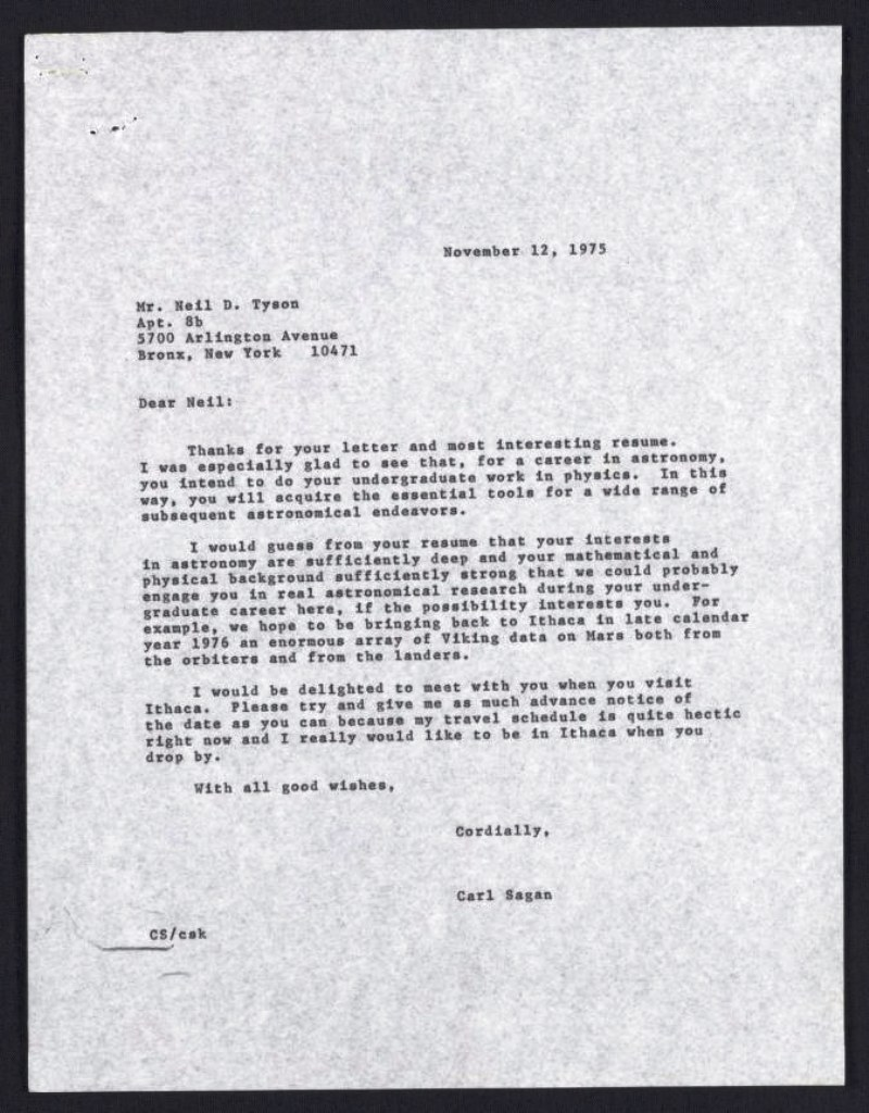 Carl Sagan Writes Neil DeGrasse Tyson