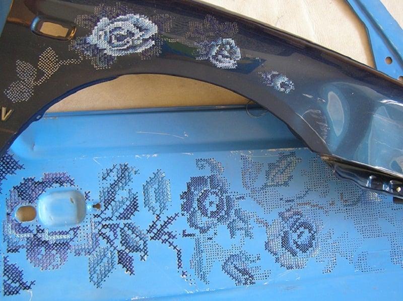 Blue Metal Car Cross Stitch