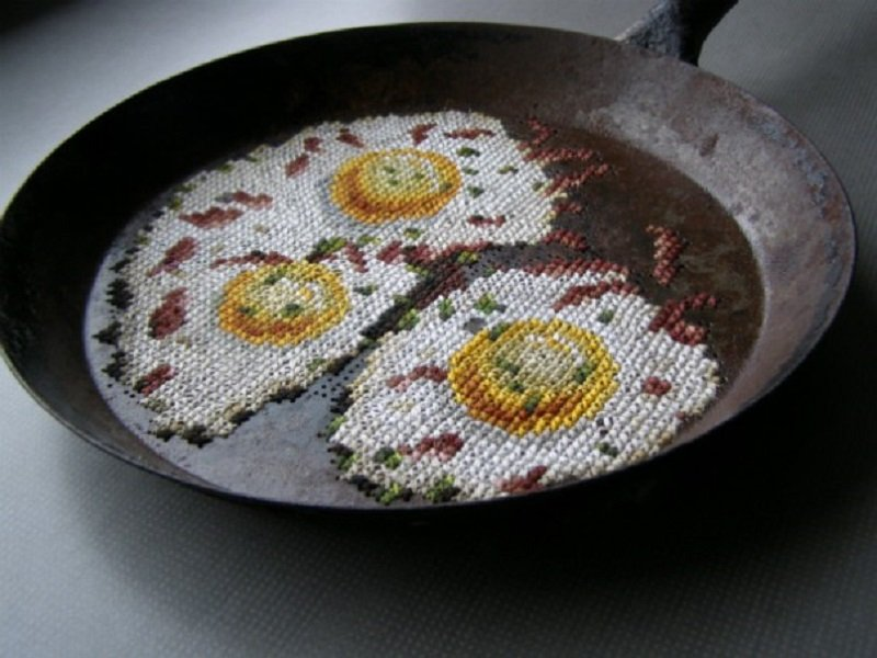 Eggs Cross-Stitched Into Pan