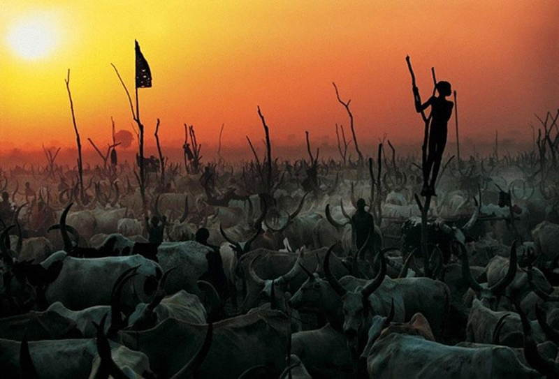 Dinka Tribe Sudan Sunset