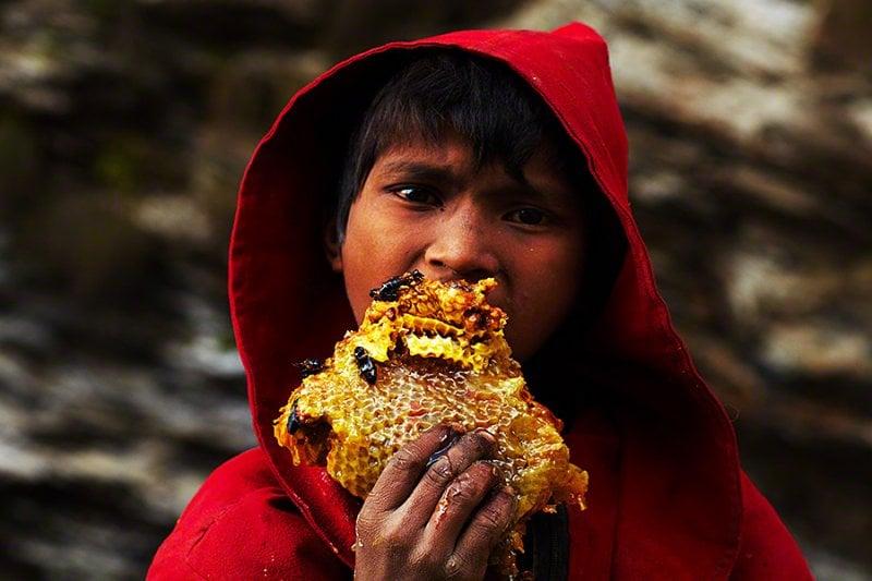 Boy Eats Honey