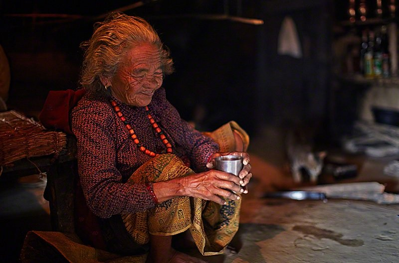 Gurung Woman Brews Honey Tea