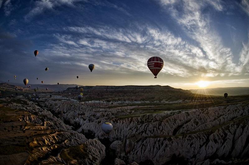 Many Hot Air Balloons Over Turkey