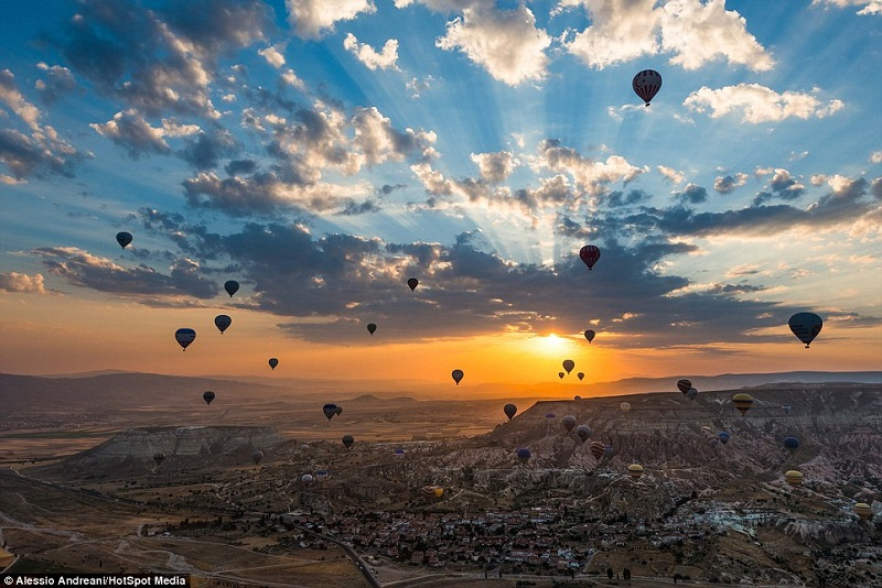 Hot Air Balloons Over Turkey At Sunrise