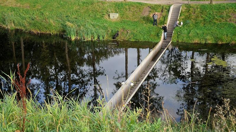 Bridge Divides Moat Water