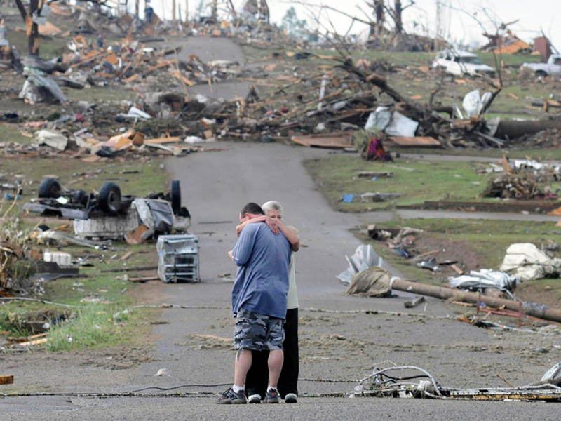 Family Hug After Tornado Influential Photographs