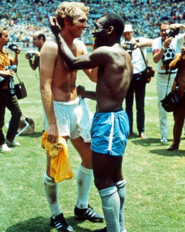 Pele And Bobby Moore Embrace At The World Cup