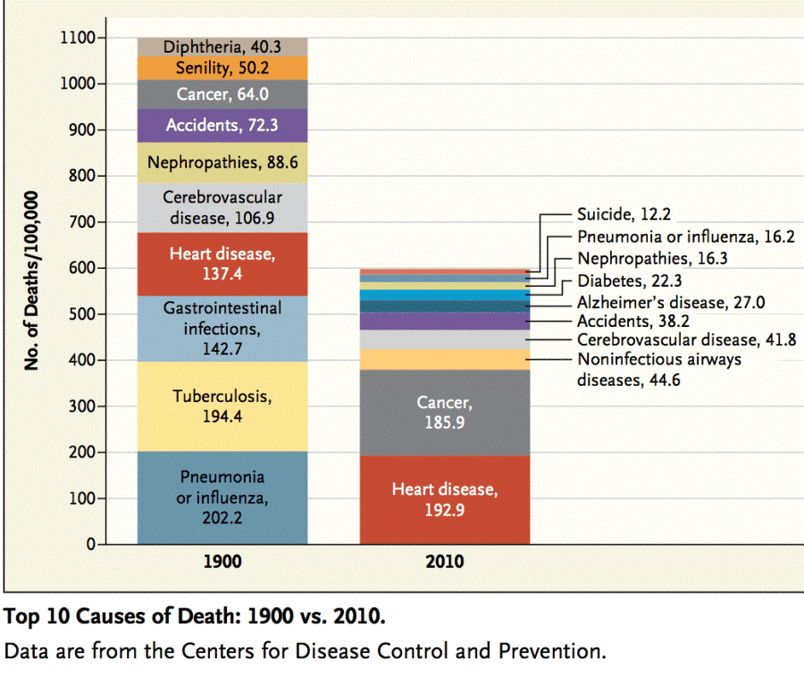 10 Causes Of Death 1900 2010