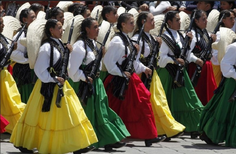 Women Dress as Mexican Soldiers