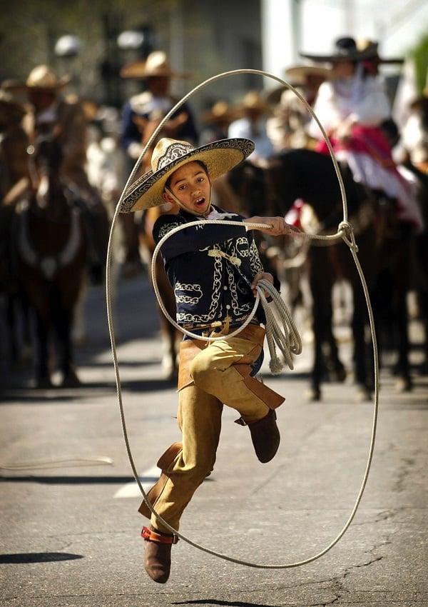 Boy Performs in Cinco de Mayo Parade