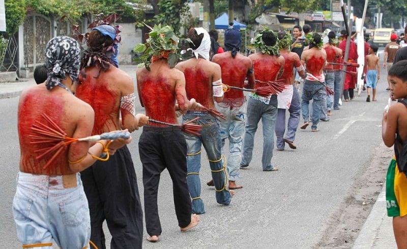 Filipino Men Self-Flagellation During Holy Week
