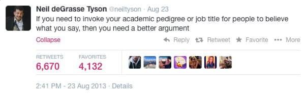 Neil DeGrasse Tyson Tweets Academia