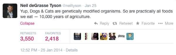 Neil DeGrasse Tyson Tweets GMO