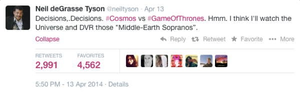 Neil DeGrasse Tyson Tweets Thrones