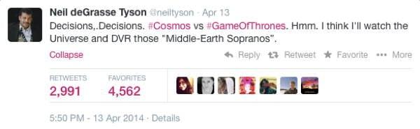 Neil DeGrasse Tyson Tweets Thrones