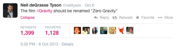 Neil DeGrasse Tyson Tweets Gravity